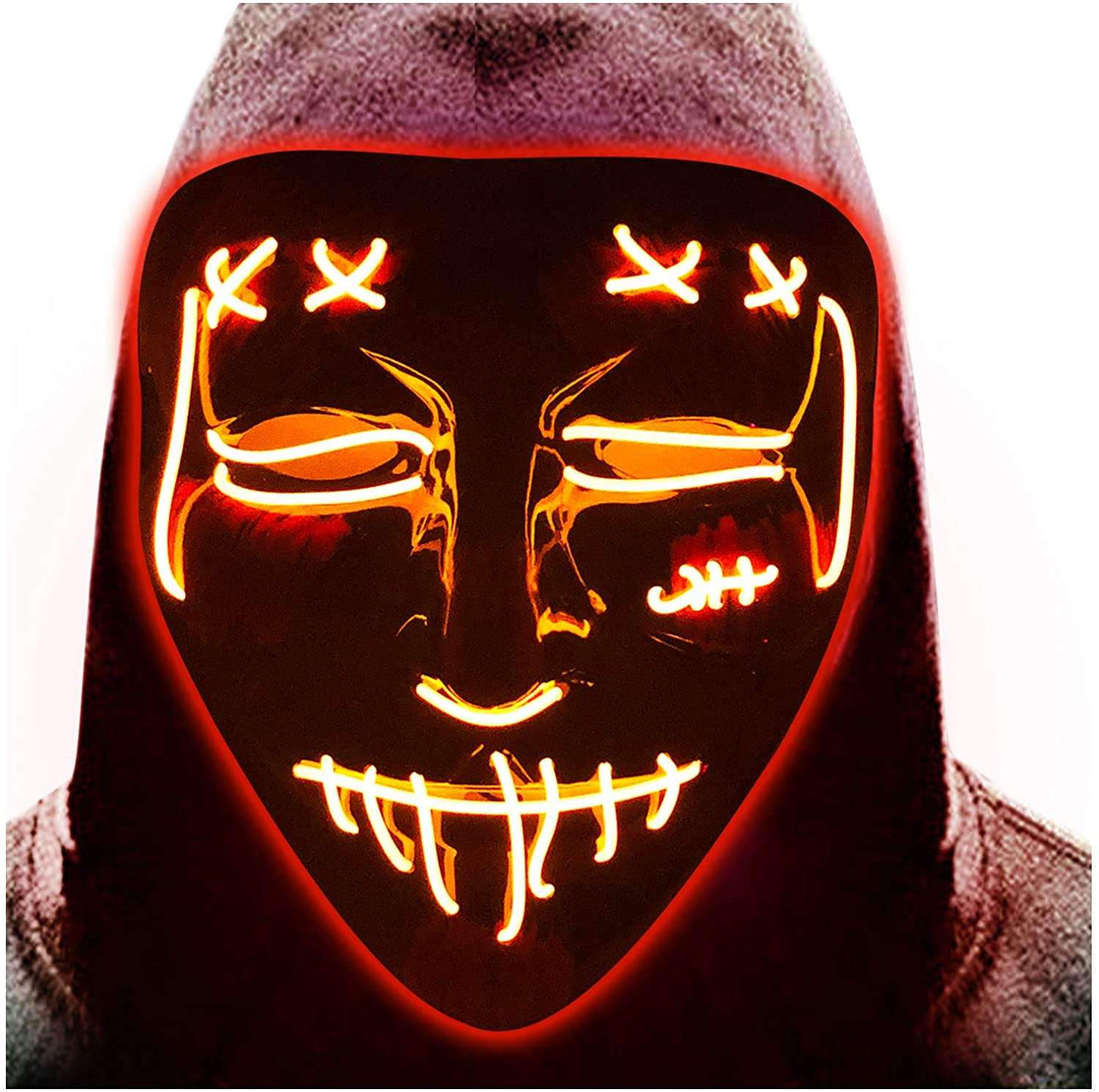 Halloween LED Mask Light Up Scary EL Wire Mask Cosplay Costume Rave Glowing Masks for Festival Party Carnival