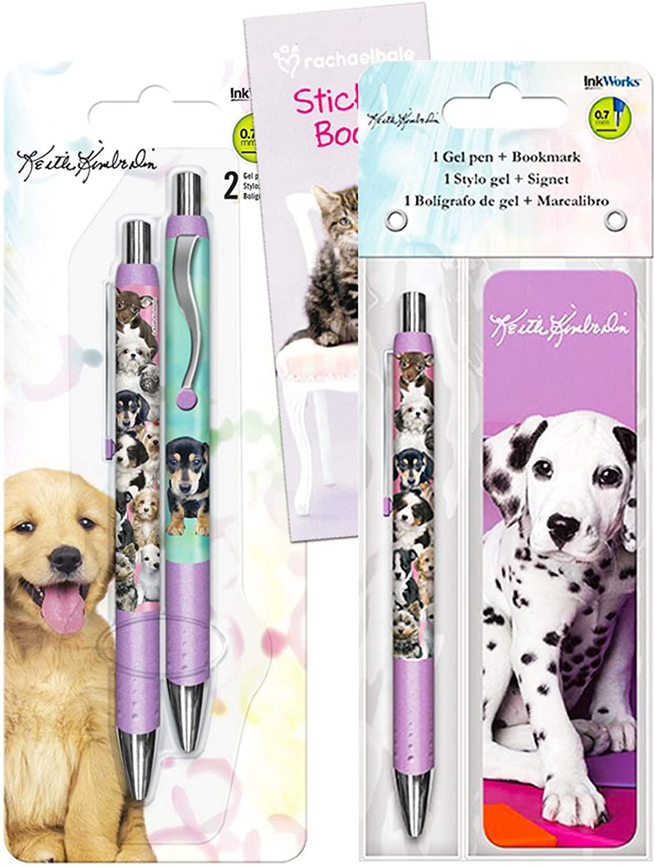 Keith Kimberlin Puppies Pens Bundle - Premium Keith Kimberlin 3 Puppies Pens and Puppy Bookmark Set (Puppy School Supplies)