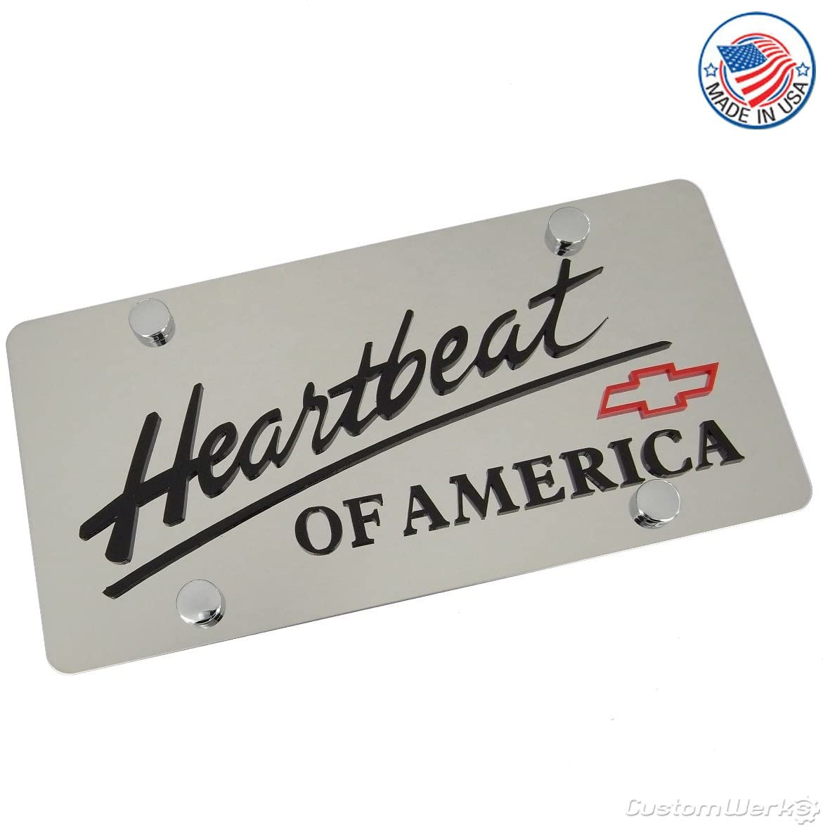 Chevy Heartbeat Of America Words & Red Bowtie Logo & Name On Polished License Plate