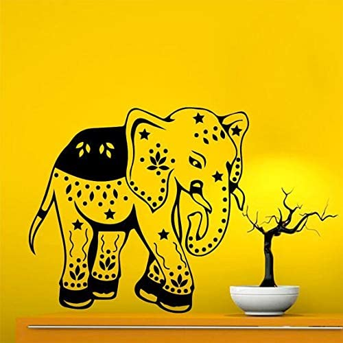 Baby Elephant Floral Pattern Vinyl Sticker Animals Design Kids Nursery Bedroom Decor Decal Size 48x57 Color Black Frst Modern Contemporary