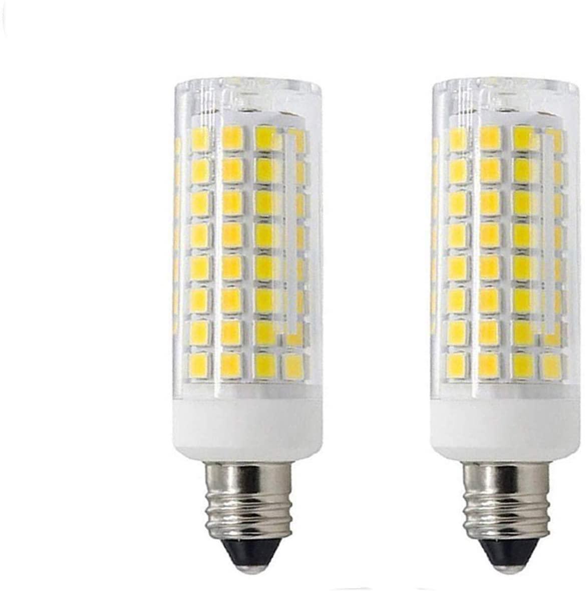 [2-Pack]E11 led Bulbs, All-New (102LEDs) Mini Dimmable Candelabra Base, T4 /T3 JD Type Clear E11 Light Bulbs,7.5 Watt, 75W 100W Halogen Bulbs Replacement,850 lumens, 110V, 120V, 130V, Daylight 6000K