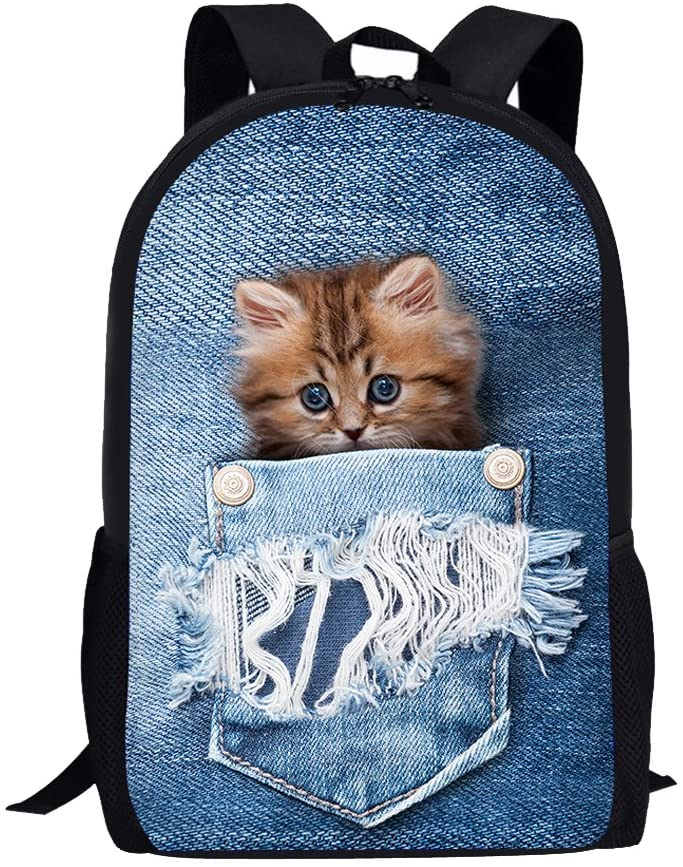 Cute Cat Backpack kids Teen Boys Girls Backpacks School Bookbags