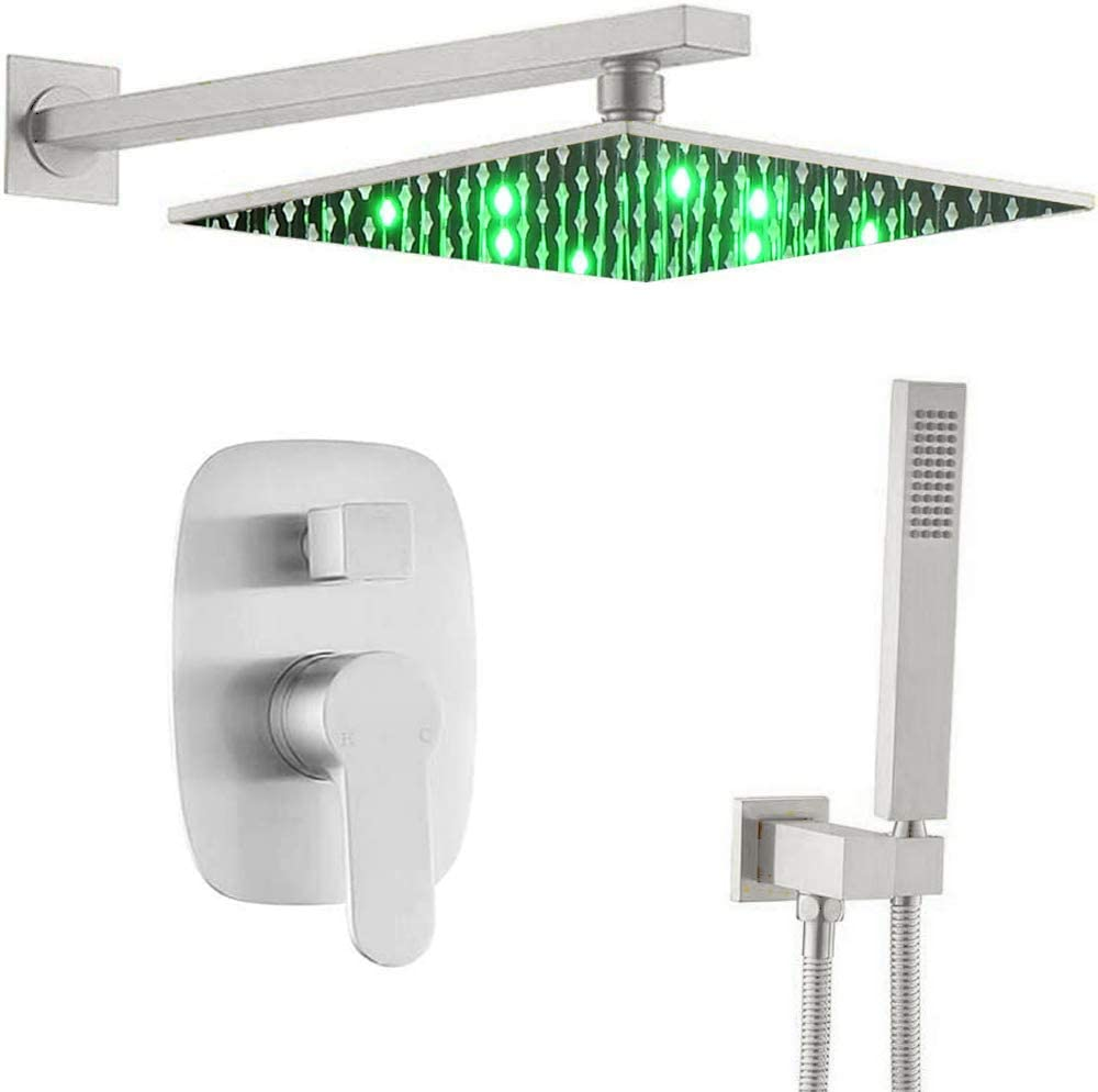 AYIVG Shower System Brushed Nickel 12 Inch LED Square Rainfall Shower Head Bathroom Brass Wall Mounted Shower Set