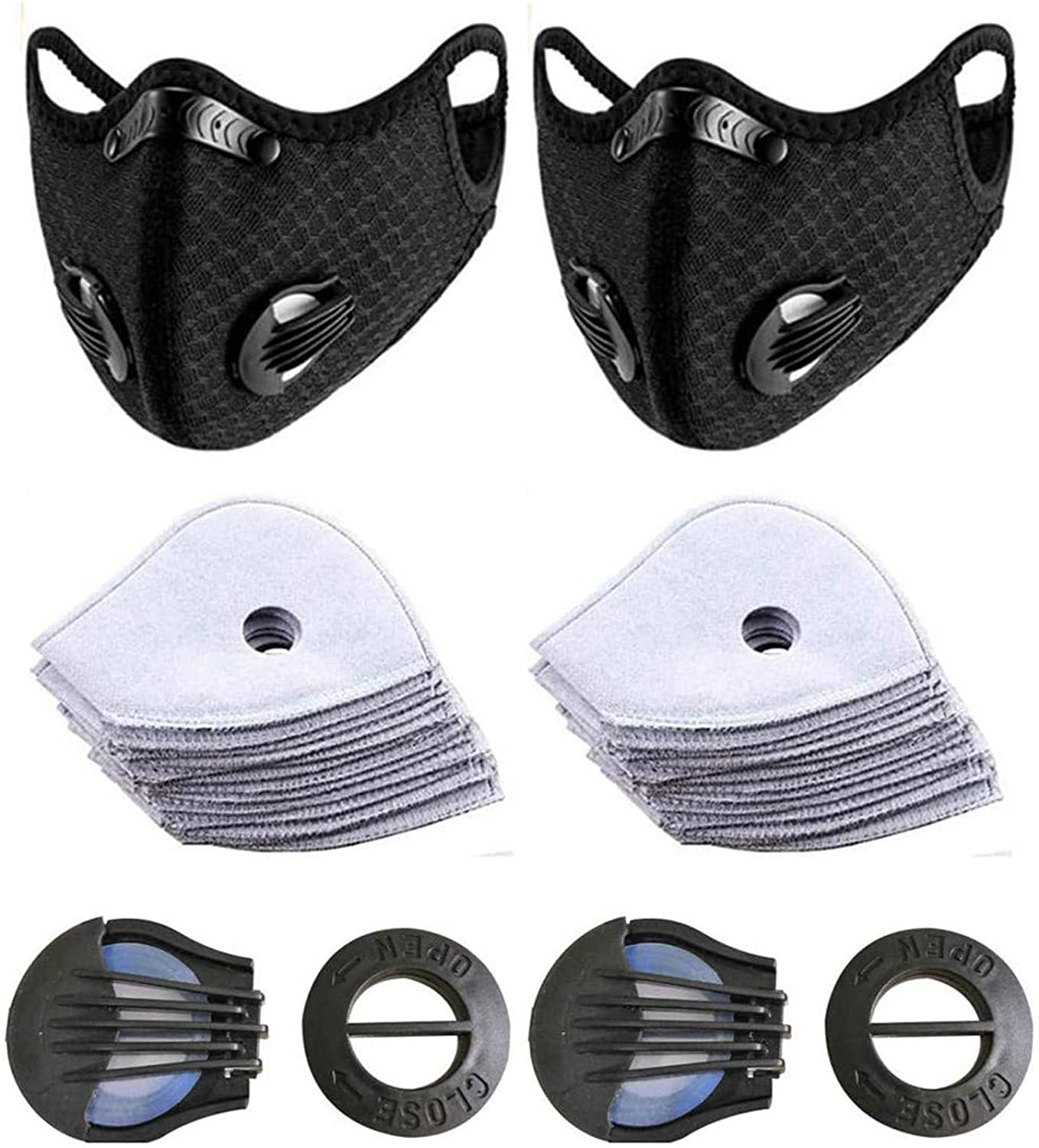 OMGYST 2PCS Soft Stretch Reusable Protect_Face_Mask_Breathable Adult Face Balaclavas With 10 Filters & 2 Replaceable Breathing Holes Bandana Mouth Protection for Women and Men