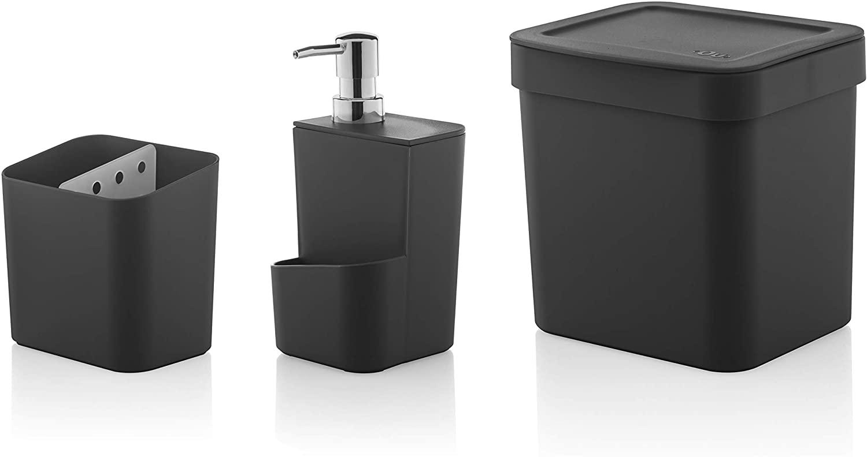Ou Premium Design Soap/Detergent Dispenser with Flatware/Toothbrush Holder Caddy – Ideal for Kitchen or Bathroom & Trash Can (Black)