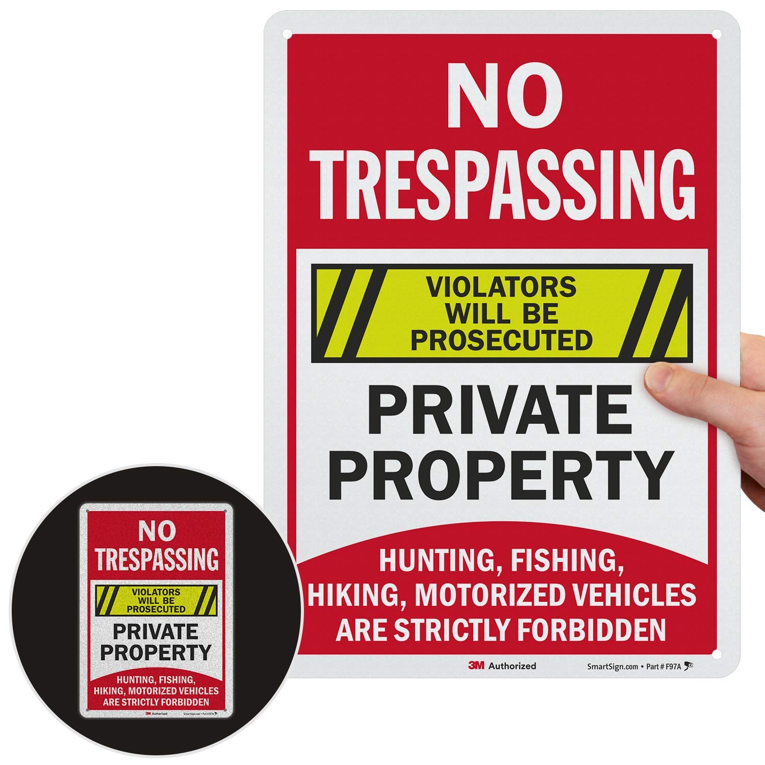 """SmartSign """"No Trespassing Private Property - Hunting, Fishing, Hiking, Motorized Vehicles are Forbidden"""" Sign 