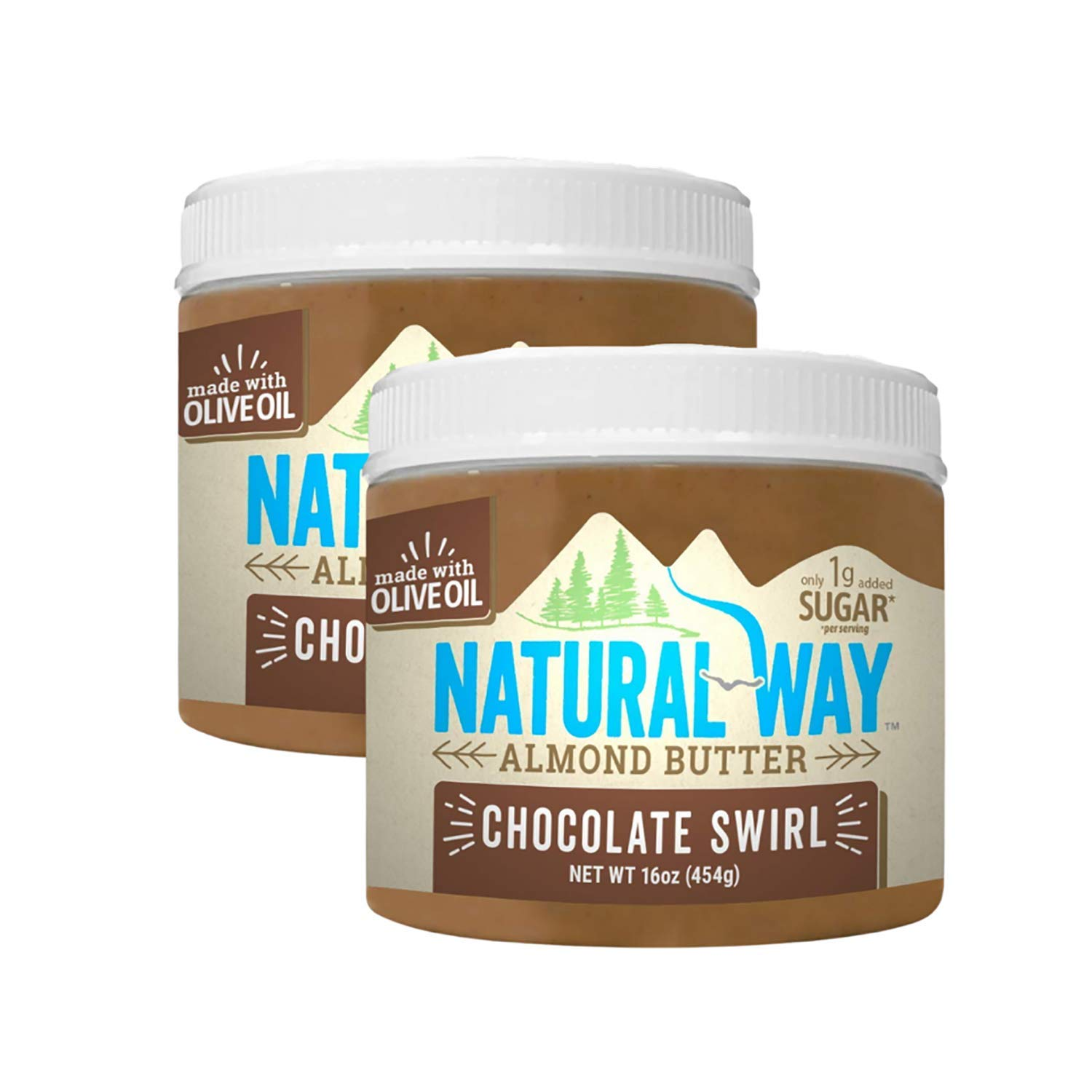 Natural Way Almond Butter, Chocolate, 2-Pack, 16 Ounce Jars - With Olive Oil