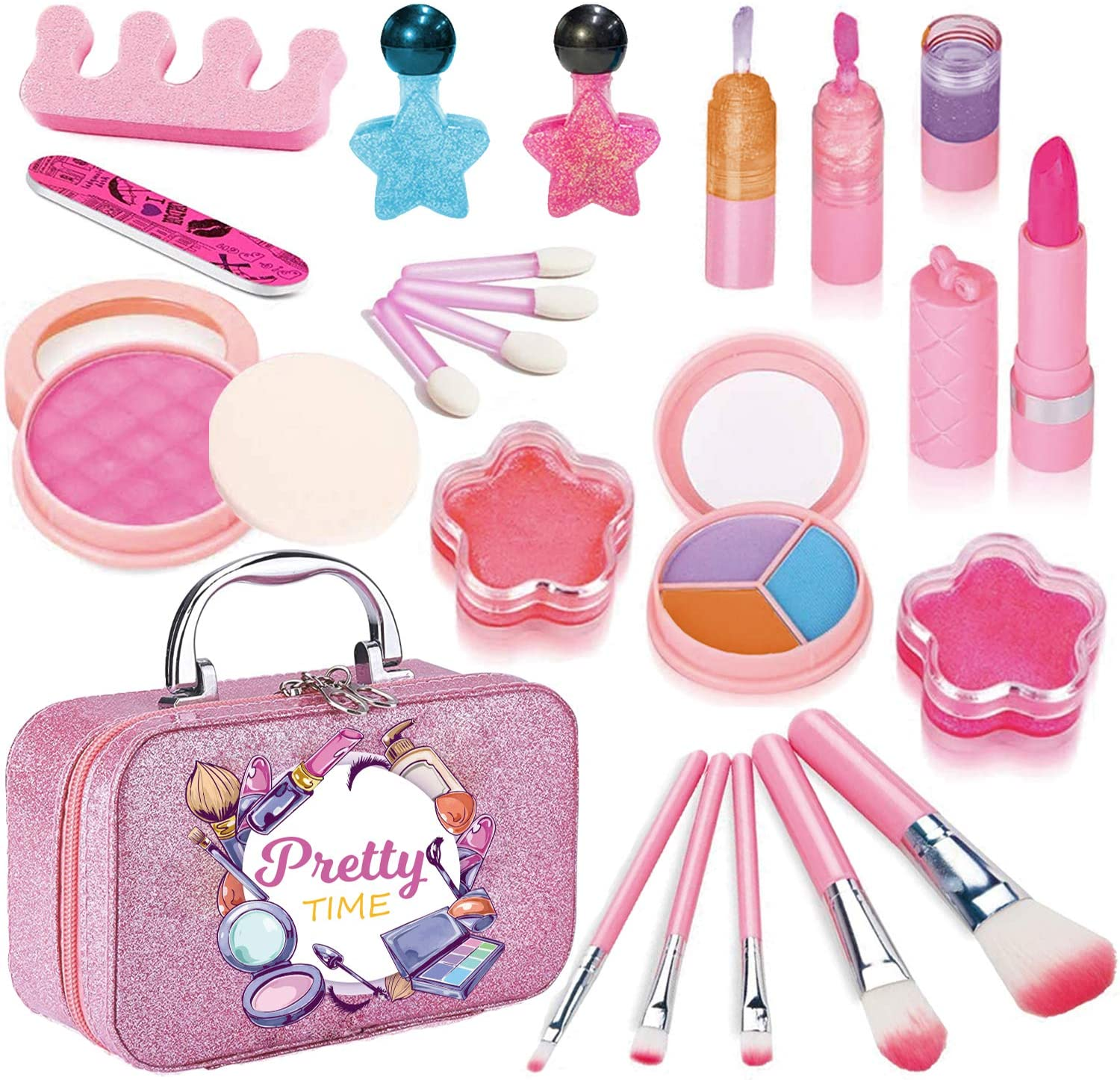Makeup Kits for Girls, Real Washable Make Up Toys for Kids Cosmetic Beauty Set Facial Beauty Dress-up kit with Eye Shadow, Blush, Brushes, Lip Gloss, Nail Polish for Party Game Christmas Birthday