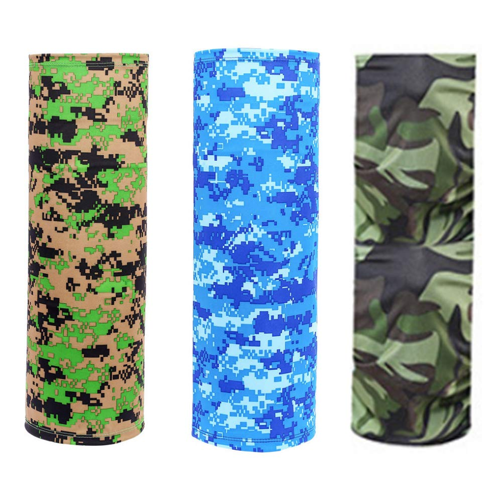 3 Packs Neck Gaiter Face Cover Scarf Breathable Gaiter Mask Cooling Seamless Bandana, Reusable Cloth Sun Face Dust Scarf, Face Masks Cool Windproof Balaclava for Men UV Protection Headwear - SYTMR