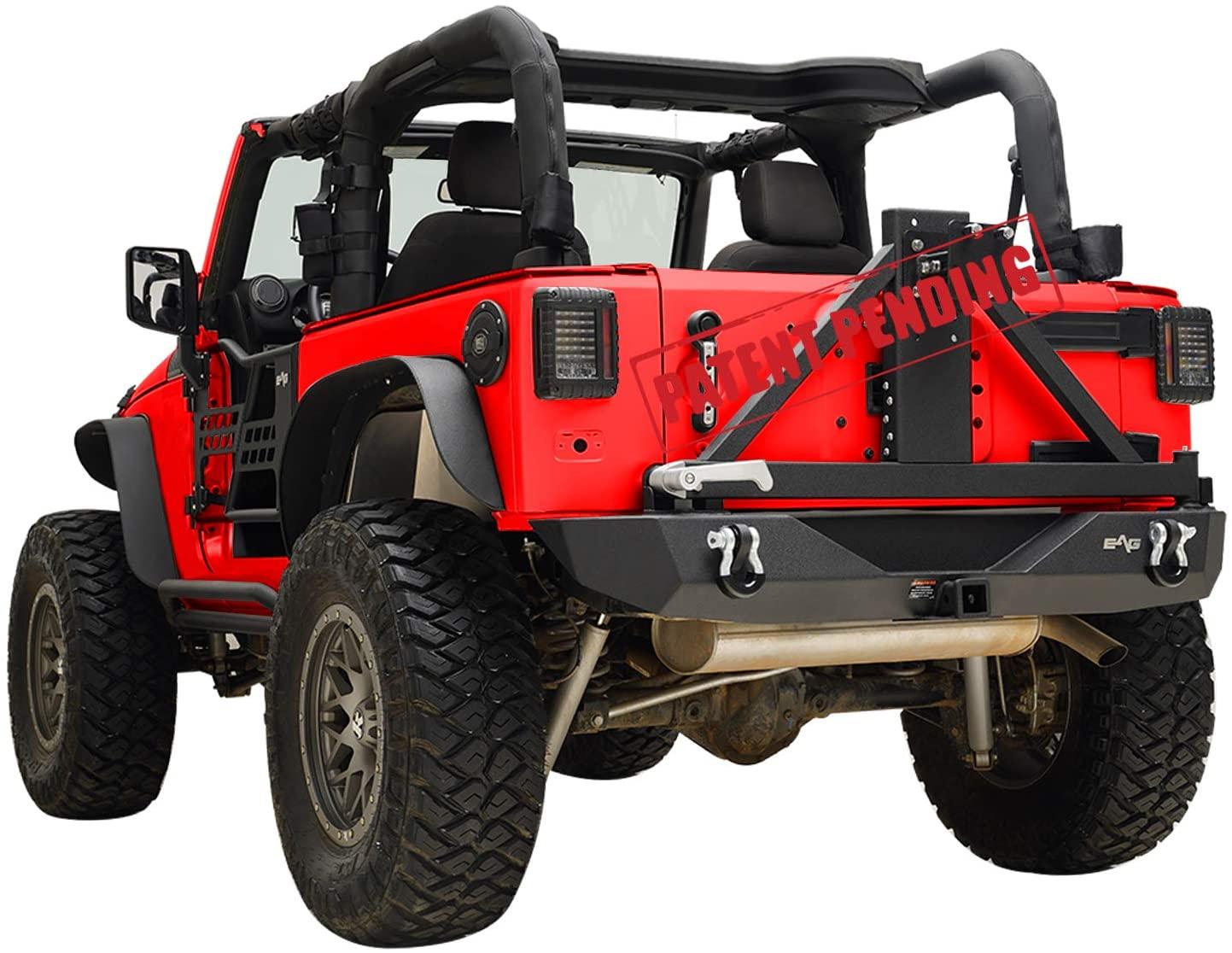 KML Rear Bumper with Assembled Tire Carrier Mount Fit for 07-18 Wrangler JK