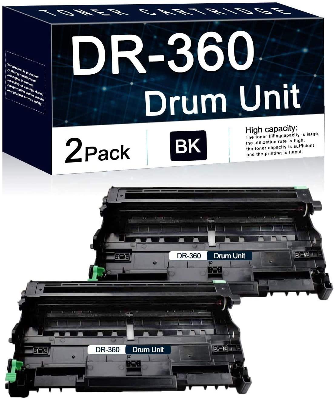 Compatible 2 Pack Black DR-360 Drum Unit Used for Brother DCP-7030 7040 7045N HL-2120 2150 2150N 2170 2170W MFC-7040 7320 7345N 7440 7440N 7840 7840W Printers.