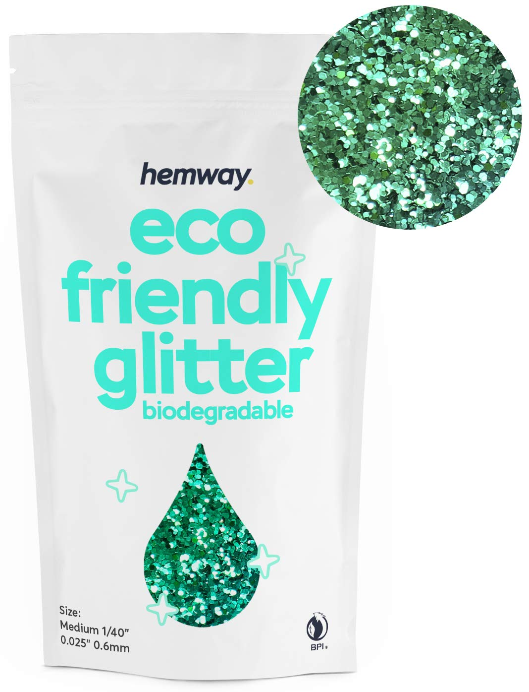 Hemway Eco Friendly Biodegradable Glitter 100g / 3.5oz Bio Cosmetic Safe Sparkle Vegan for Face, Eyeshadow, Body, Hair, Nail and Festival Makeup, Craft - 1/40