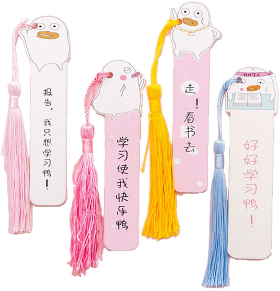 minansostey Cute Cartoon Duck Wooden Bookmark,Book Page with Tassel Student Stationery Exquisite Gift