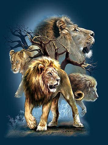 3D Home Wall Art Decor Lenticular Pictures, Lions Collection Holographic Flipping Images, 12x16 inches Animal Poster Painting, Without Frame, Ferocious Lion