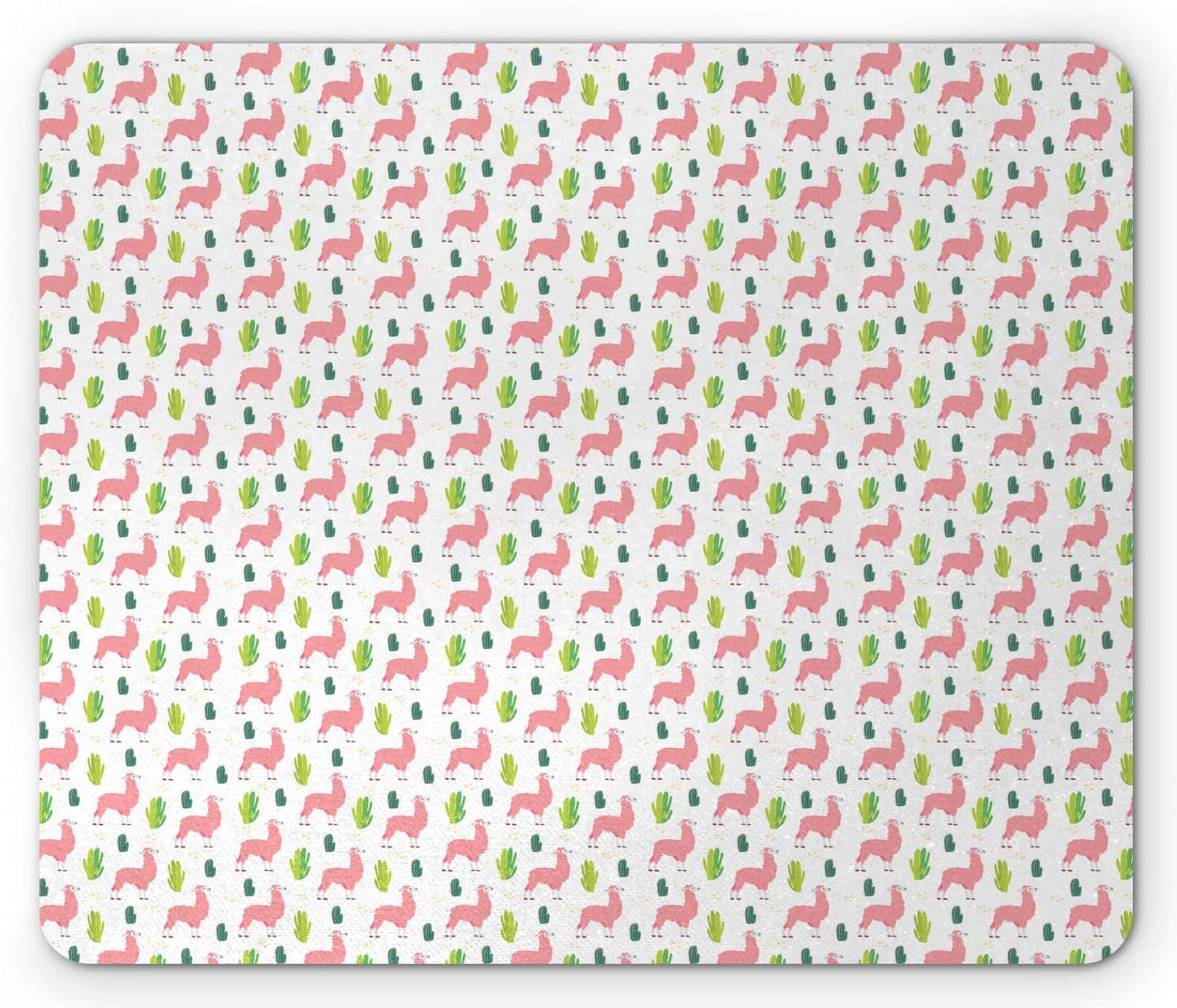 Ambesonne Llama Mouse Pad, Desert Animals and Cactus on a Plain Background, Rectangle Non-Slip Rubber Mousepad, Standard Size, White Pink Lime Green