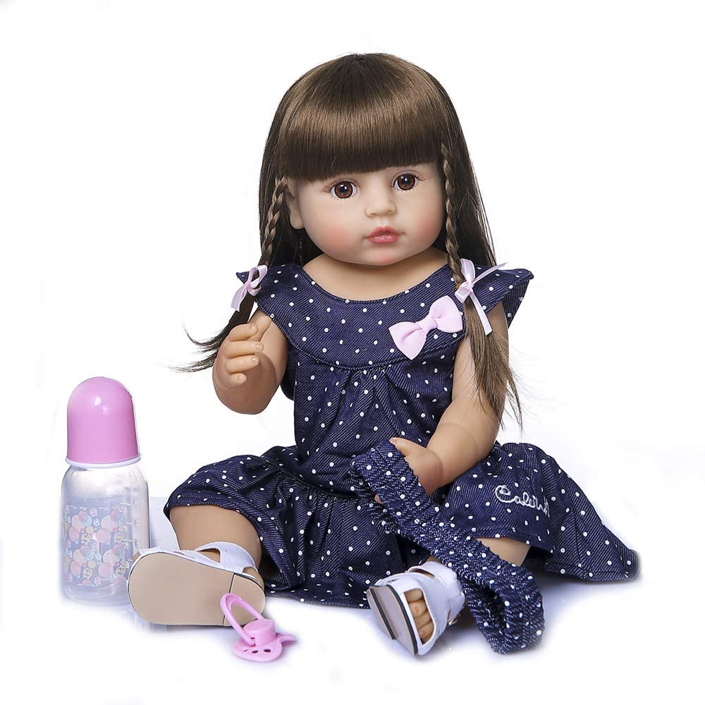 Anano Full Body Soft Silicone Reborn Baby Girls Dolls 22 Inch Real Life Size Girl Realistic Doll for Toddlers with Clothes, Birthday Gifts for 5 Years Old Girls