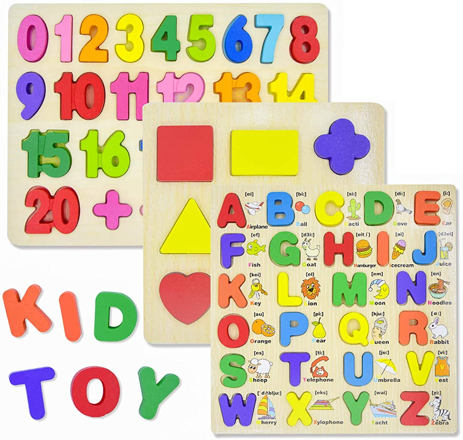 Aubeco Wooden Alphabet Puzzles for Toddlers, Wooden Alphabet Number Shape Learning Puzzles with Water-Based Paint, Toddler Early Educational Toy for Kids Ages 2 3 4 5 6 (Set of 3)