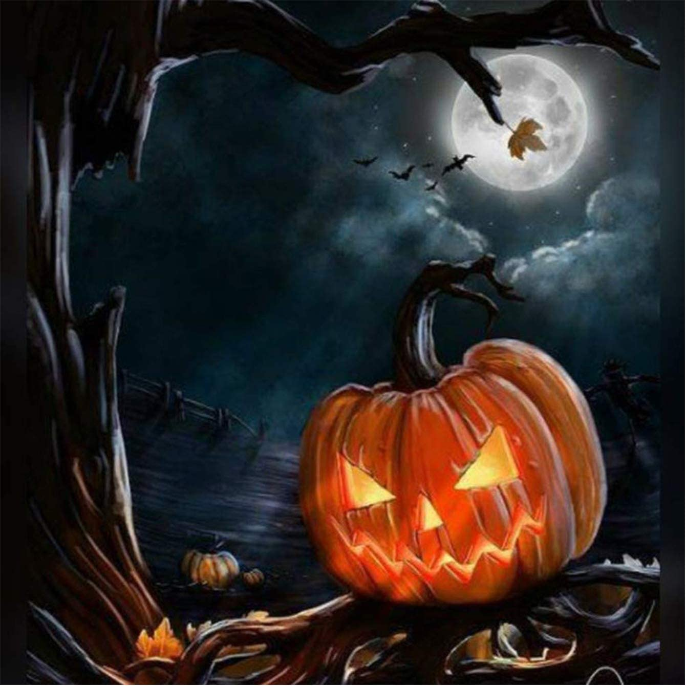 5D Diamond Painting by Number Kits for Adults, Halloween Pumpkin Moon Diymood Painting Paint with Diamonds Arts Craft Full Drill Home Decor 16x20inch