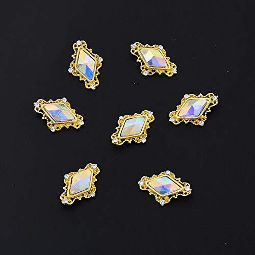 10psc/lot ab crystal glass 3D nail art ornaments 10-14mm rhinestone for nail art gem holographic effect charm DIY Nail Supplies (JE450-10pcs)