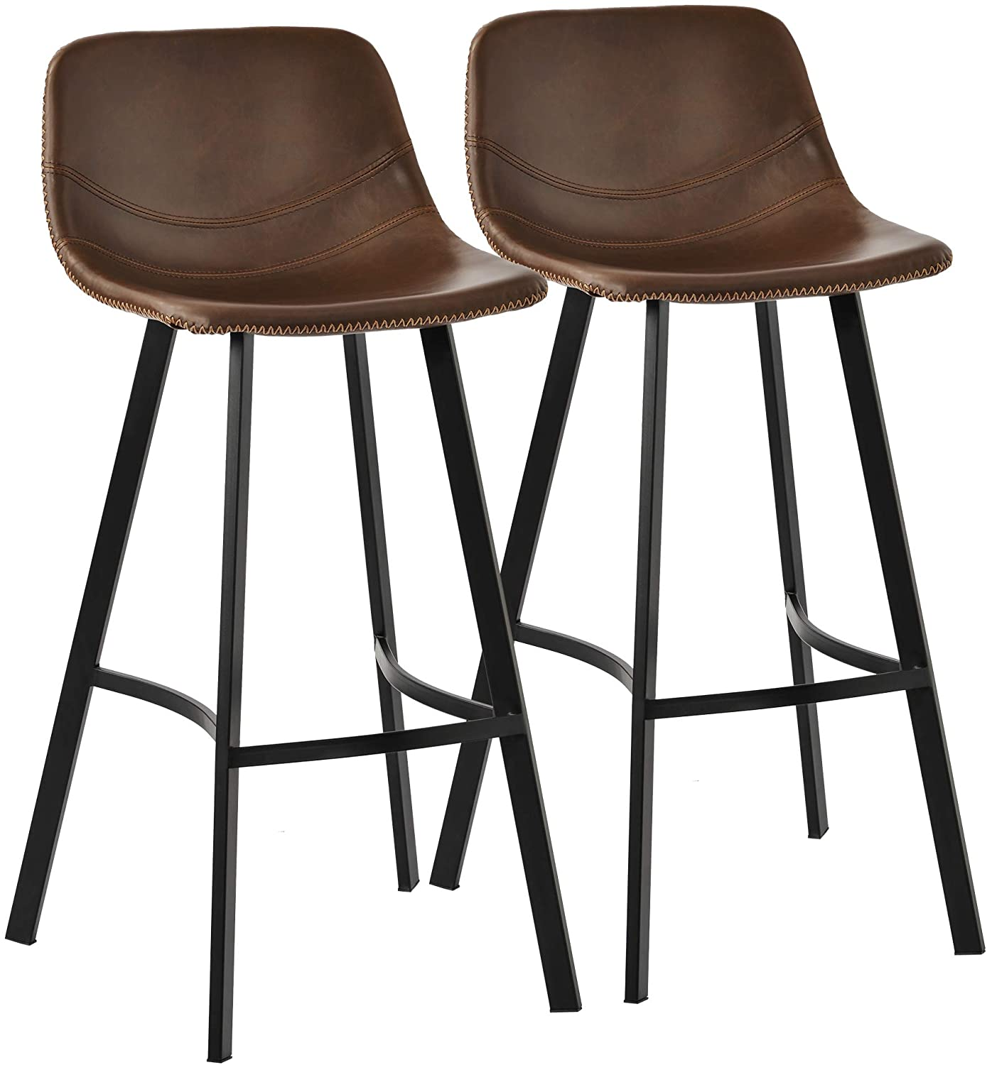 Knocbel Vintage Leather Height Bar Stool, Set of 2, Kitchen Dining Room Stools Bar Pub Chairs with Low Back, Footrest & Metal Legs, 267 Lbs Weight Capacity (Light Brown)
