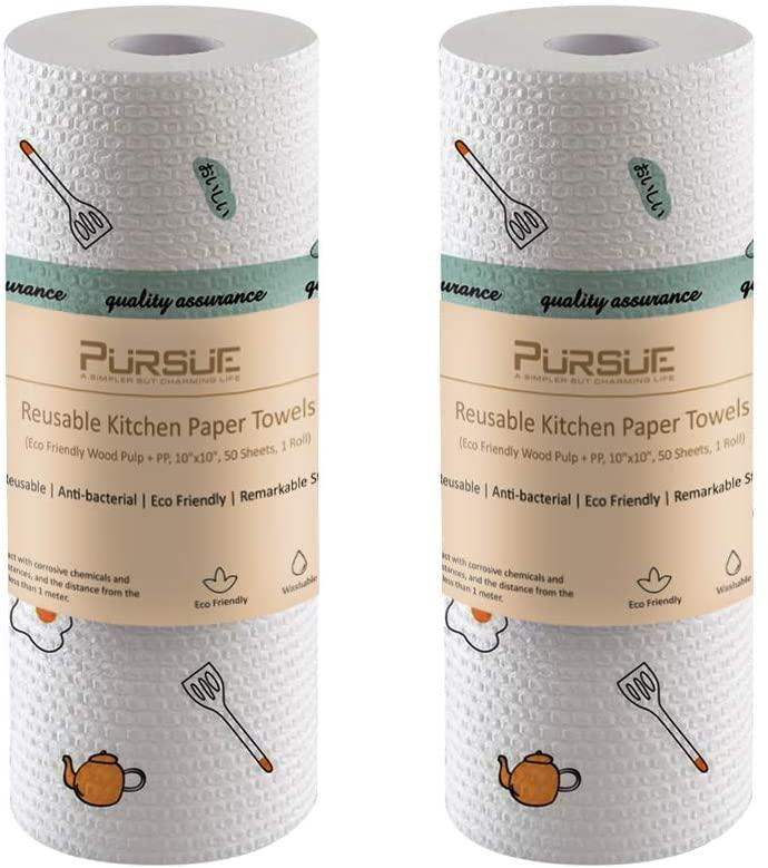 PURSUE Kitchen Paper Towels | Eco Friendly | Washable | Zero Waste | Soft | Disposable Rags | 10