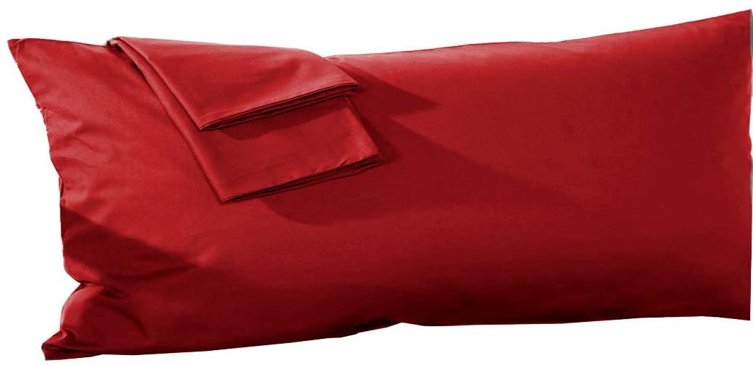 Body Pillowcase 20x54 Pillow Cover 100% Pure Egyptian Cotton Soft Heavy Quality 1-Pieces Pillowcase Geniune 500 Thread Count Zipper Body Pillow Cover Burgundy Solid