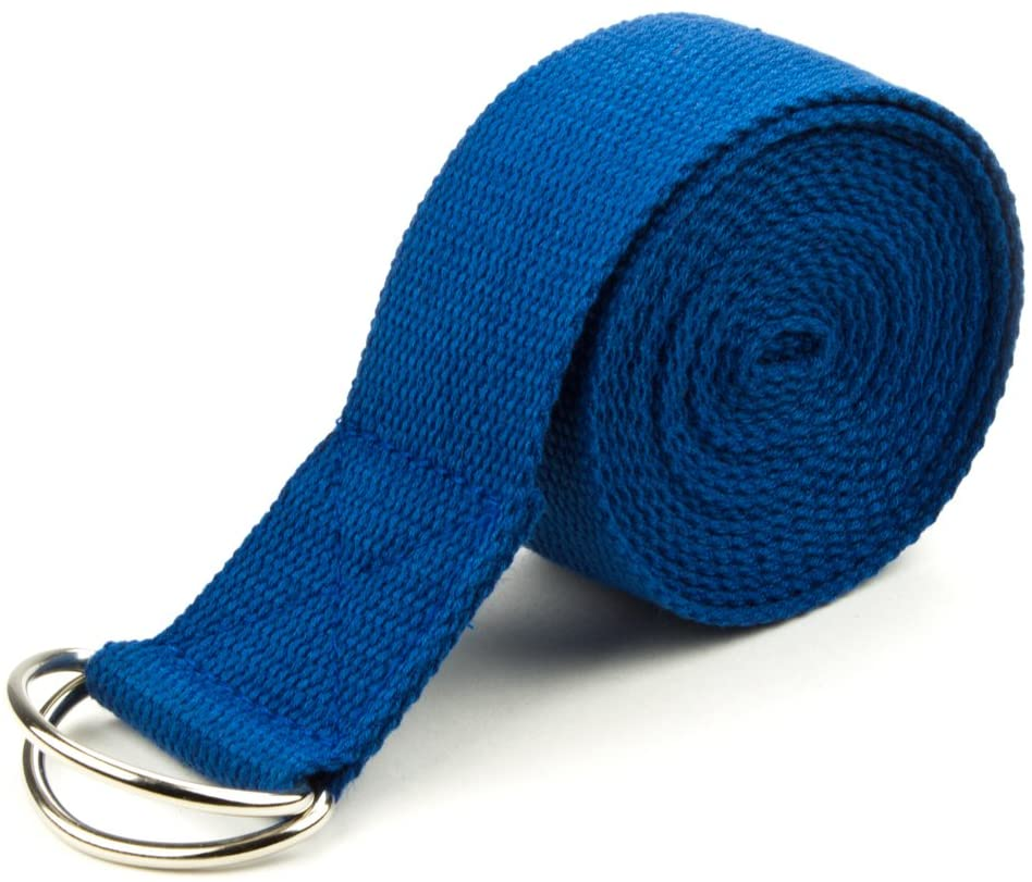 Crown Sporting Goods 10 Extra-Long Cotton Yoga Strap with Metal D-Ring (Blue)