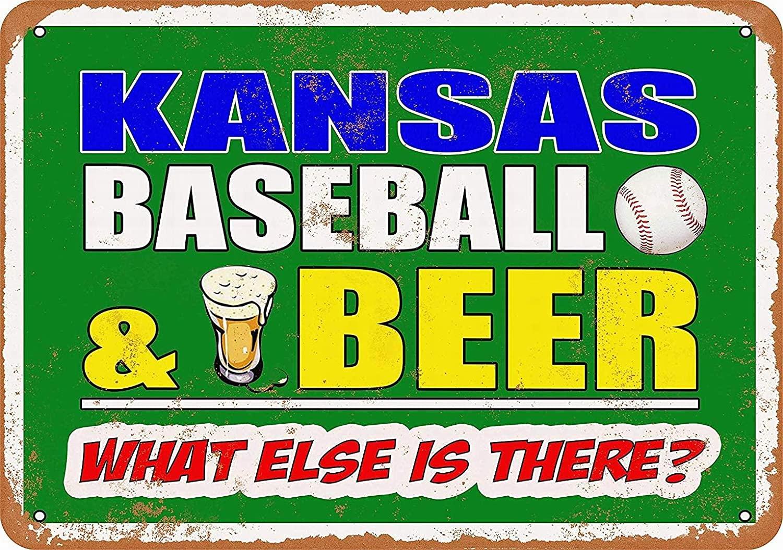 LoMall 8x12 Vintage Metal Tin Sign - Kansas Baseball and Beer - Retro Wall Decor Art