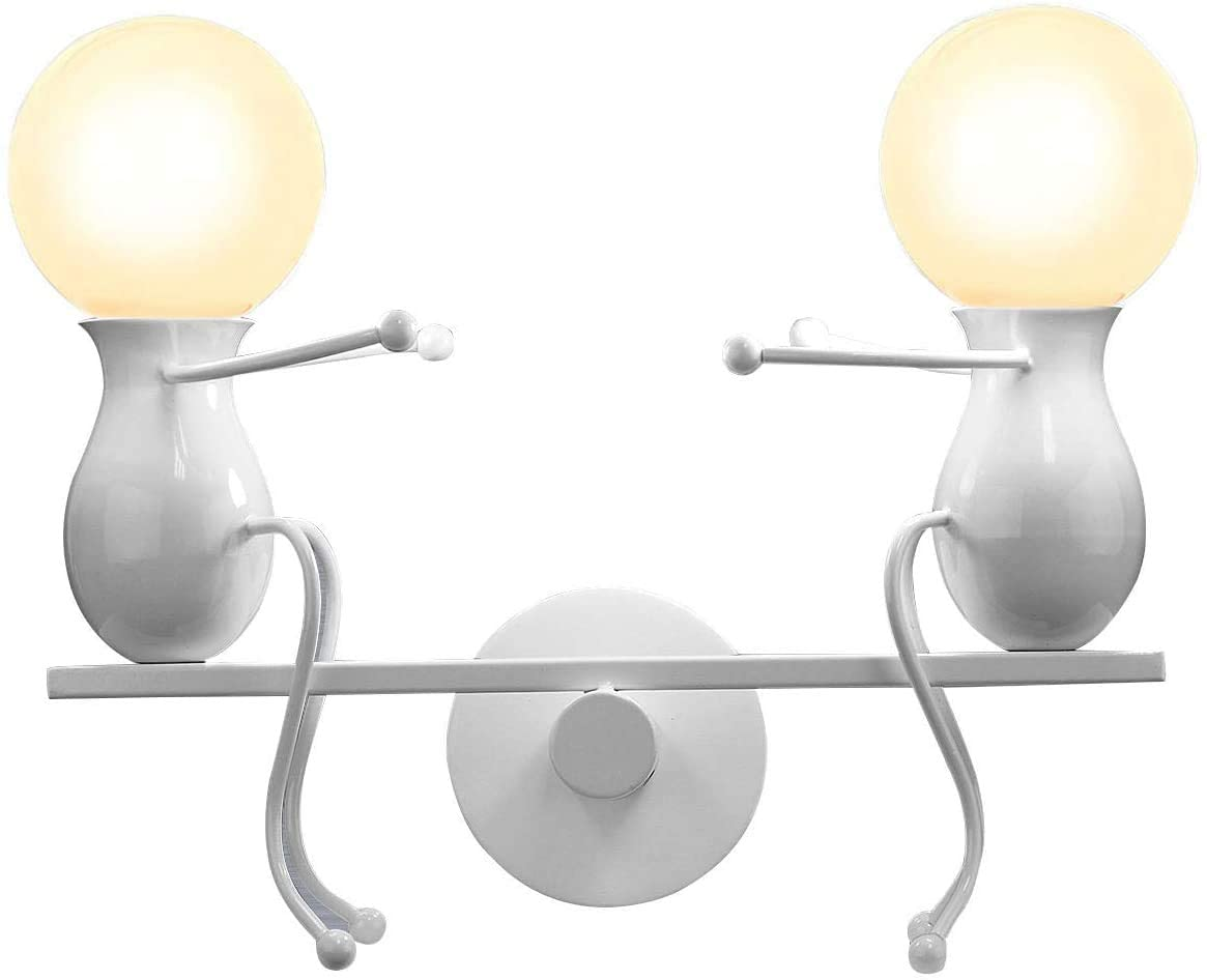 MC Humanoid Creative Wall Light Modern Wall Lamp Simple Wall Sconce Art Deco Max 60W E27 Base Iron Holder for Children Room, Bedroom Bedside, Stairs, Hallway, Restaurant, Kitchen, Swing (2_White)