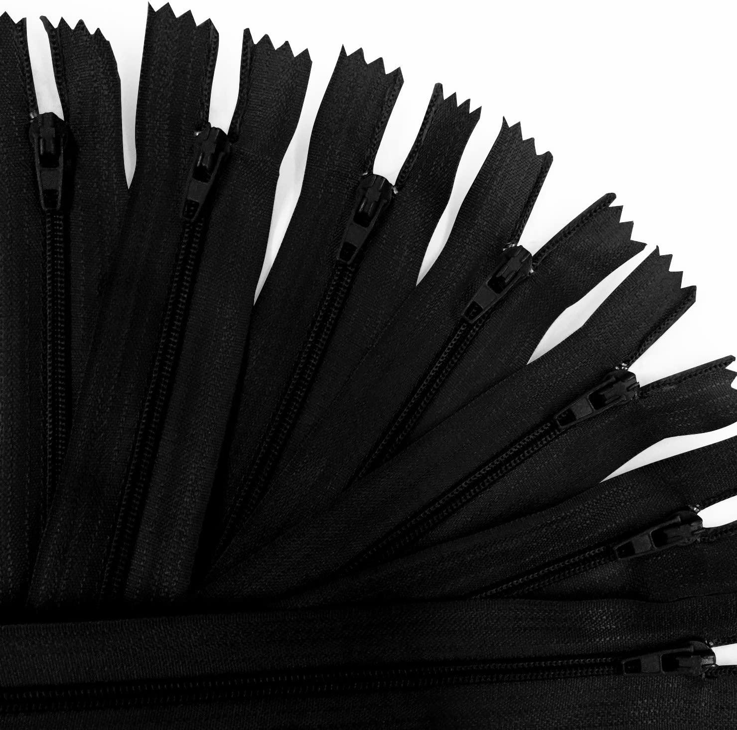 KGS 12 inch Nylon Zipper Zipper | 100 Zippers/Pack (Black)