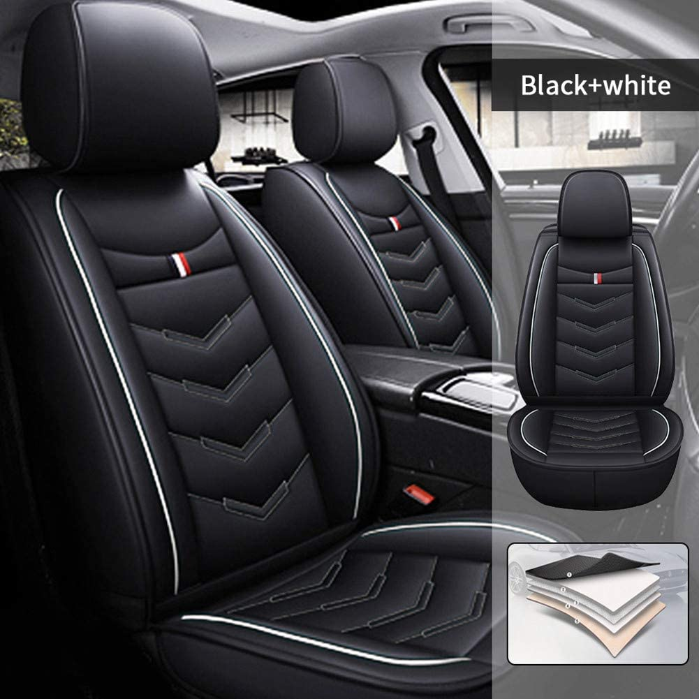 Car Seat Covers for Hyundai Ioniq Plug-in Hybrid 2018-2020 5 Seats Full Set Car Seat Cushions PU Leather Seat Protector Black White