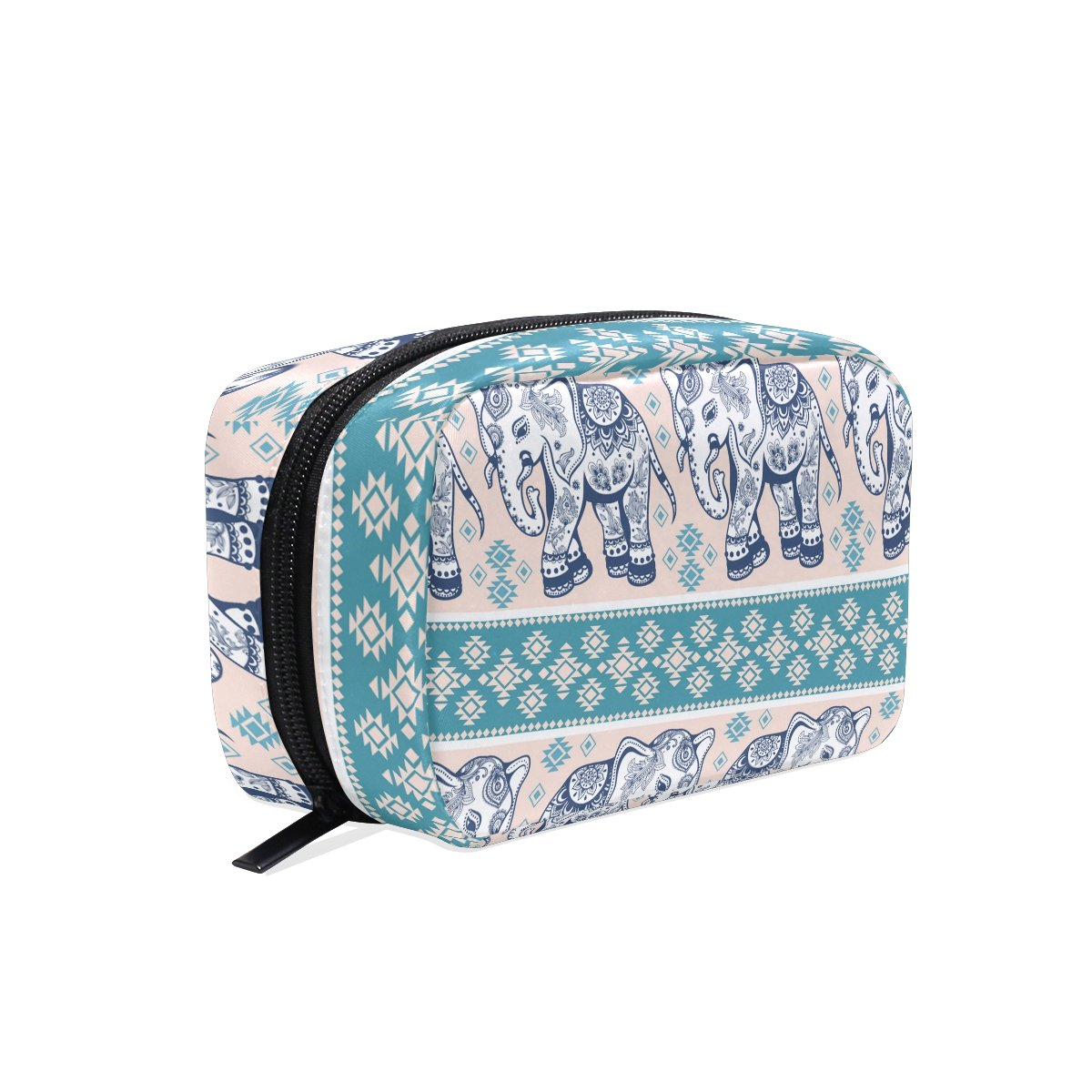 YZGO Vintage Graphic Indian Geometric Elephant Cosmetic Pouch Waterproof Makeup Bag Organizer Travel Case