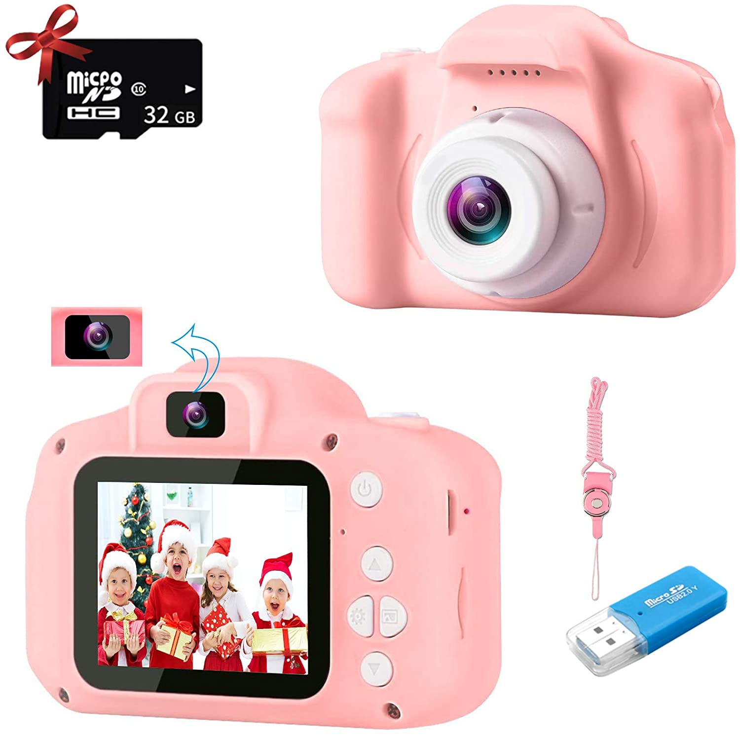 Kids Camera, 20MP Digital Camera for Girls Dual Lens HD 1080P Pink Kids Selfie Camera, Toddler Camera for Kids Age 3 4 5 6 7 8 9 Years Old Birthday Holiday Toy Gifts Mini Toy Camera with 32GB Card