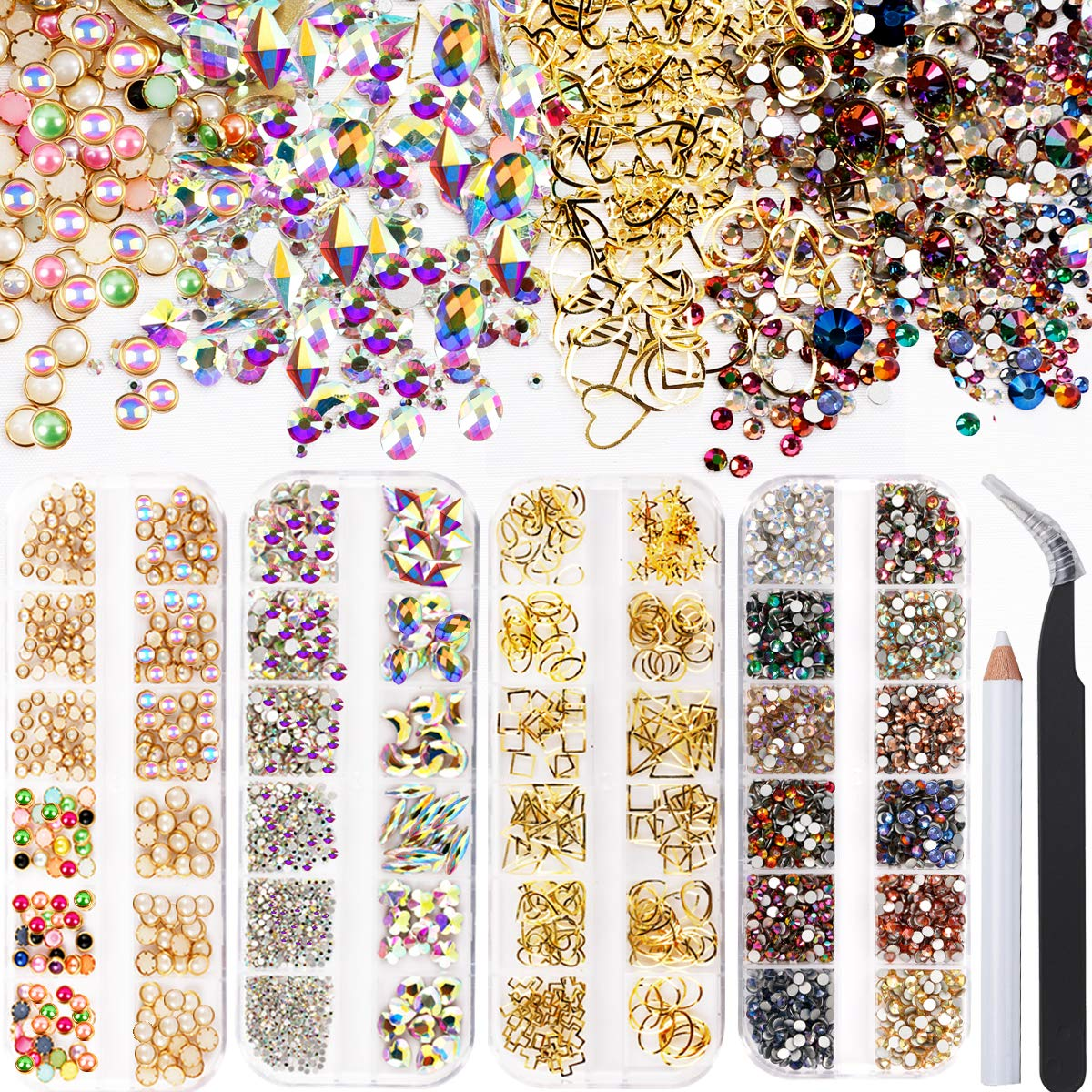 4 Boxes nail art decorations kit - including VARWANEO3000 pcs Glass Crystal AB Rhinestones for nails, 48 types of nail accessories,mixed sizes half pearl beads for gold nail art (set 2)