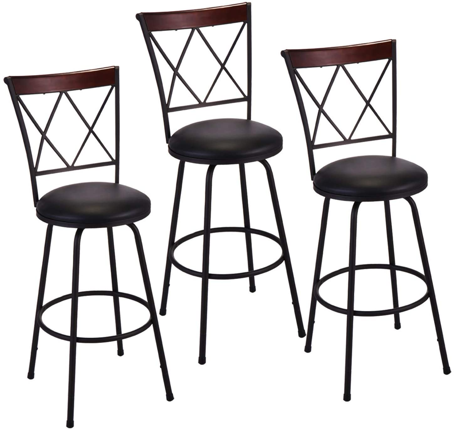 Bar Stools Set of 3, PU Leather Swivel Height Adjustable Counter Chair, Modern Metal Barstools with Ergonomic Backrest and Footrest for Dining Room Kitchen, Black