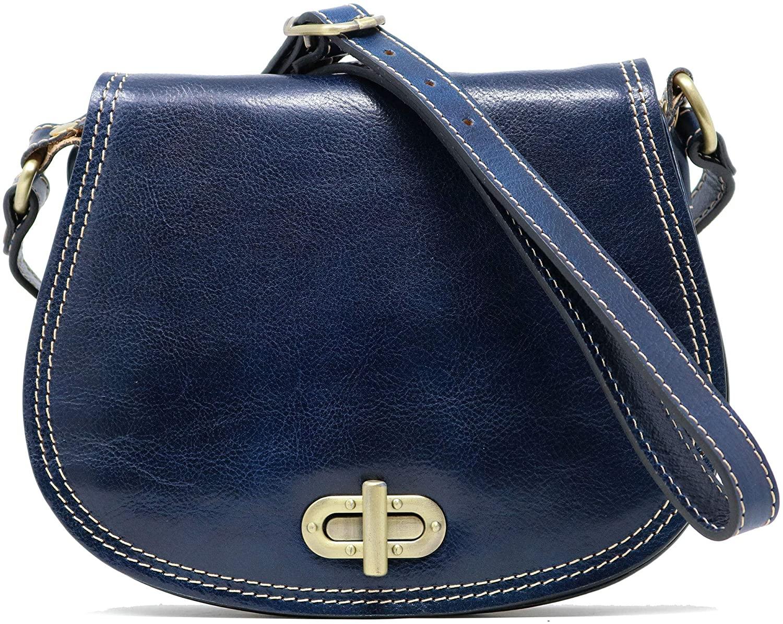 Floto Firenze Women's Saddle Bag Crossbody Shoulder Bag Handbag Blue