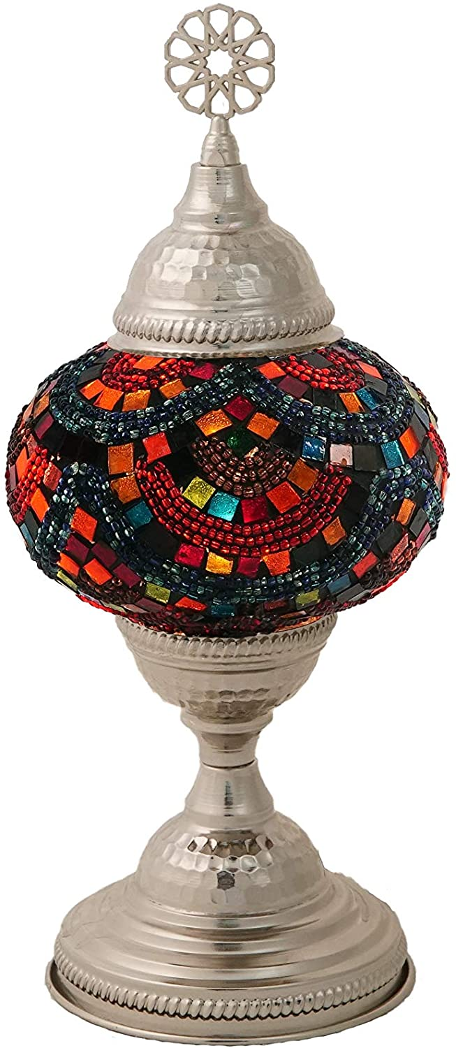 LaModaHome Turkish Moroccan Handmade Mosaic Glass Table Lamp Light with Decorative Silver Colored Copper Fixture for Bedroom, Livingroom and Winter Garden, Taygeta