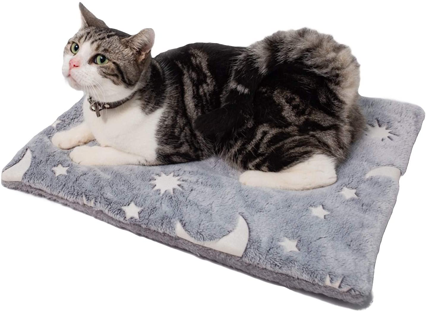 SEIS Reflective Pet Warm Mat Winter Dog Sleeping Pad Flannel Cat Bed Star Moon Design for Small Medium Large Dogs Cats