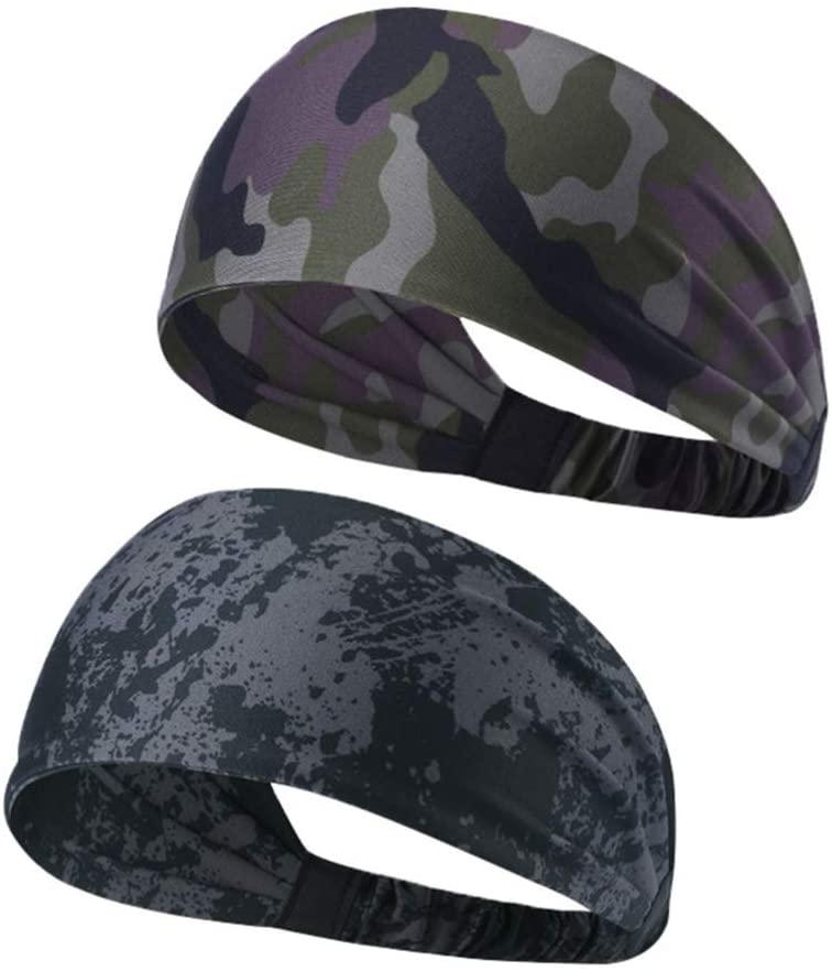 BESPORTBLE 2PCS Sports Polyester Sweatpants SPA Facial Headband Makeup Wrap Yoga Headband Adjustable Band