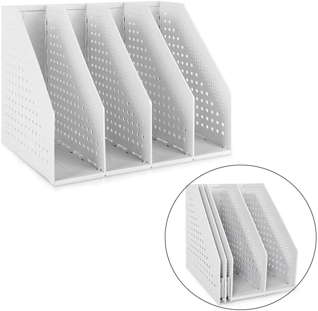 Marte Vanci Collapsible 4 Compartment Magazine Holder Desktop Adjustable Sturdy File Dividers Document Cabinet Rack Display Light Gray
