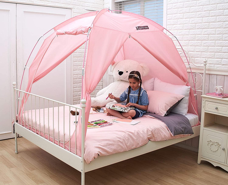 BESTEN Floorless Indoor Privacy Tent on Bed with Color Poles for Cozy Sleep in Drafty Rooms (Full/Queen, Pink)