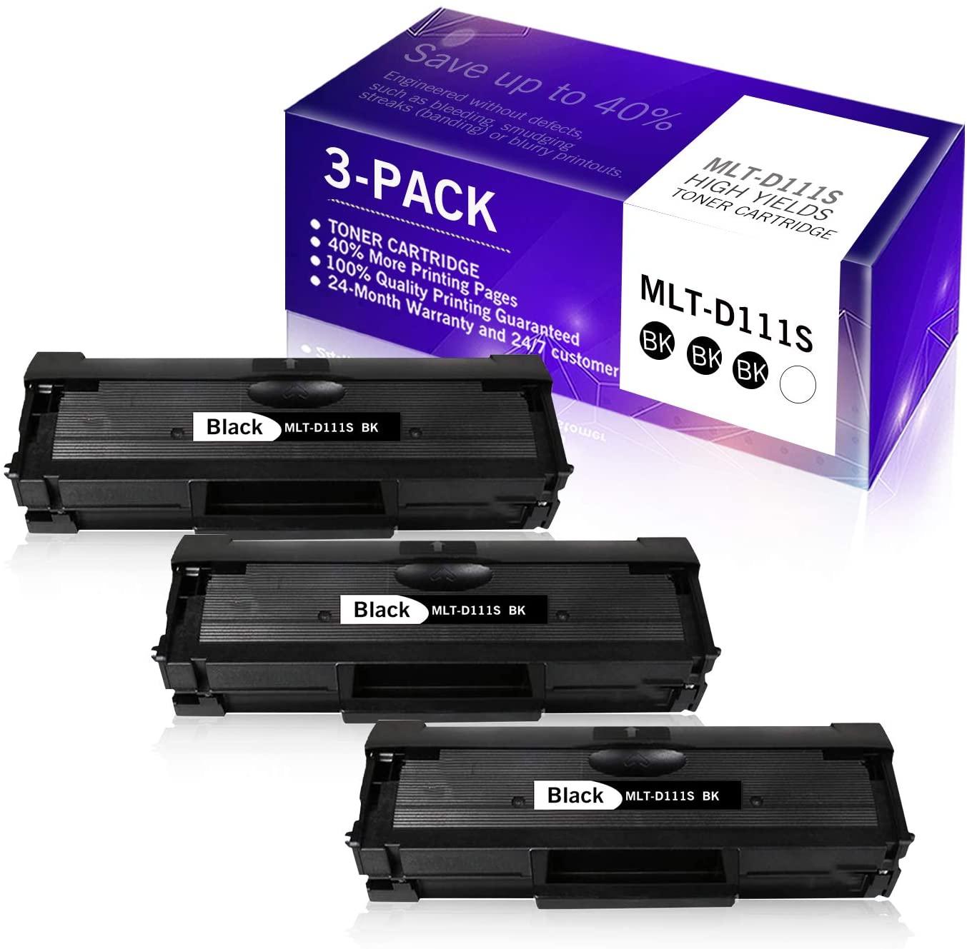 3-Pack Black Compatible Toner Cartridge Replacement for Samsung 111S 111L MLT-D111S MLT-D111L to Use with Samsung Xpress M2020W M2070FW M2070W Printer