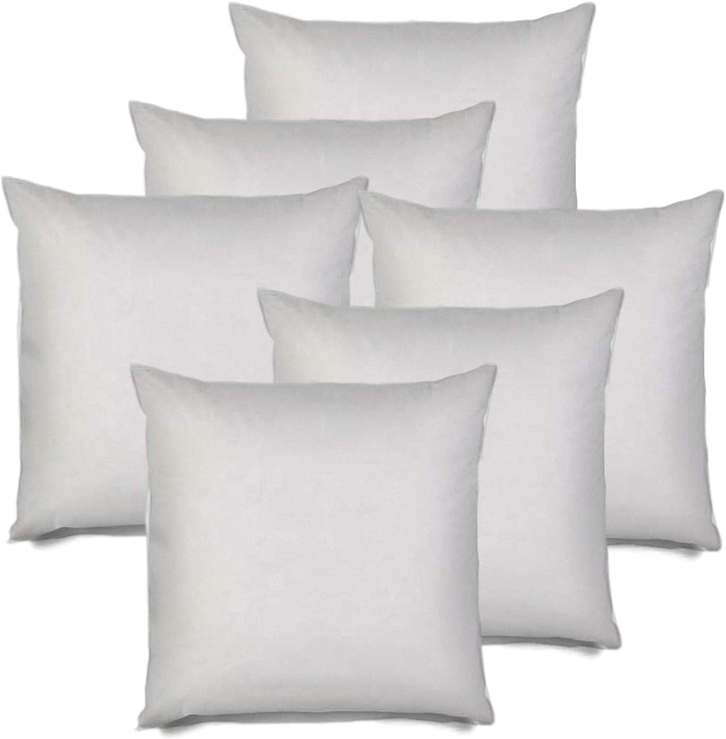 MSD 6 Pack Pillow Insert 28x28 Hypoallergenic Square Form Sham Stuffer Standard White Polyester Decorative Euro Throw Pillow Inserts for Sofa Bed - Made in USA (Set of 6) - Machine Washable and Dry