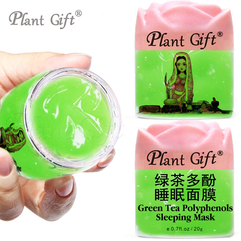 PLANT GIFT GREEN TEA POLYPHENOLS SLEEPING MASK Repairs Skin, Moisturizes, Protects Against Acne, Removes Oil Skin Care 20G2PCS