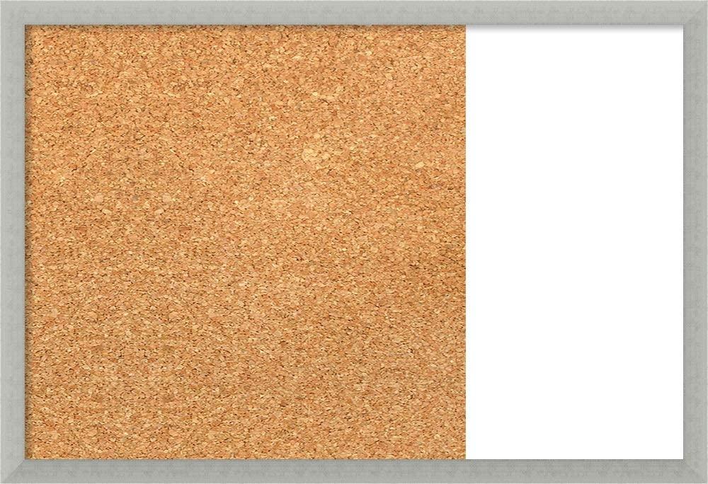 Framed Dry Erase and Cork Board Combo   Bulletin Boards and Cork Boards   Multifunctional Combo Boards   Silver Leaf Frame   28.50 x 19.50 in.