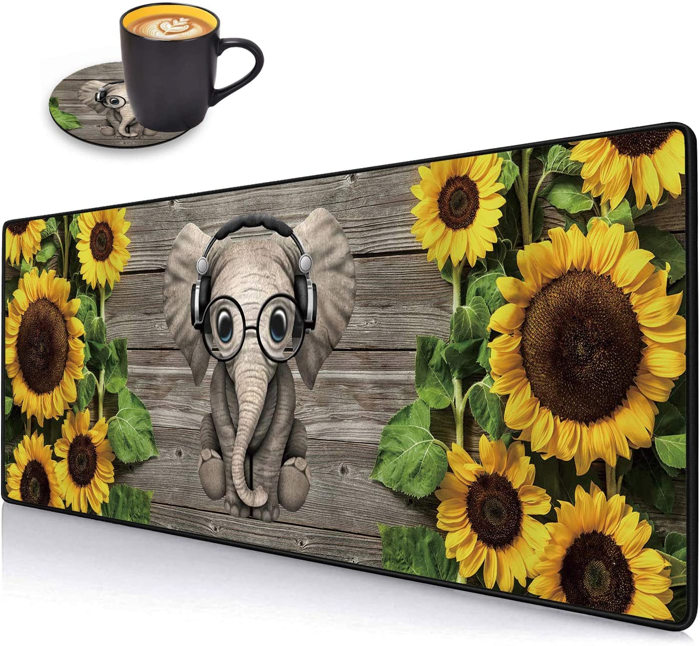 Desk Pad Mat Gaming Mouse Pads with Coasters Set, Stitched Edges Design Mouse Pad XXL Large Mouse Pad for Laptop Computers Sunflower and Elephant Desk Writing Mat for Office & Home 31.5