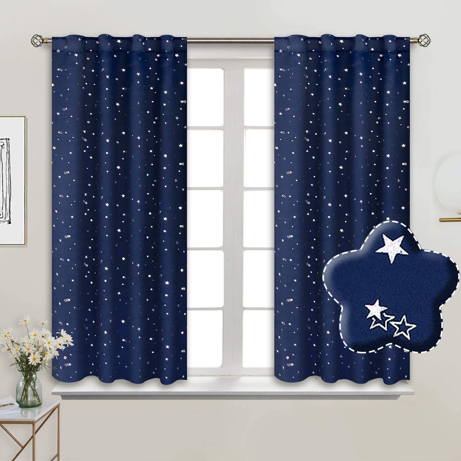 BGment Rod Pocket and Back Tab Blackout Curtains for Kids Bedroom - Sparkly Star Printed Thermal Insulated Room Darkening Curtain for Nursery, 38 x 54 Inch, 2 Panels, Navy Blue