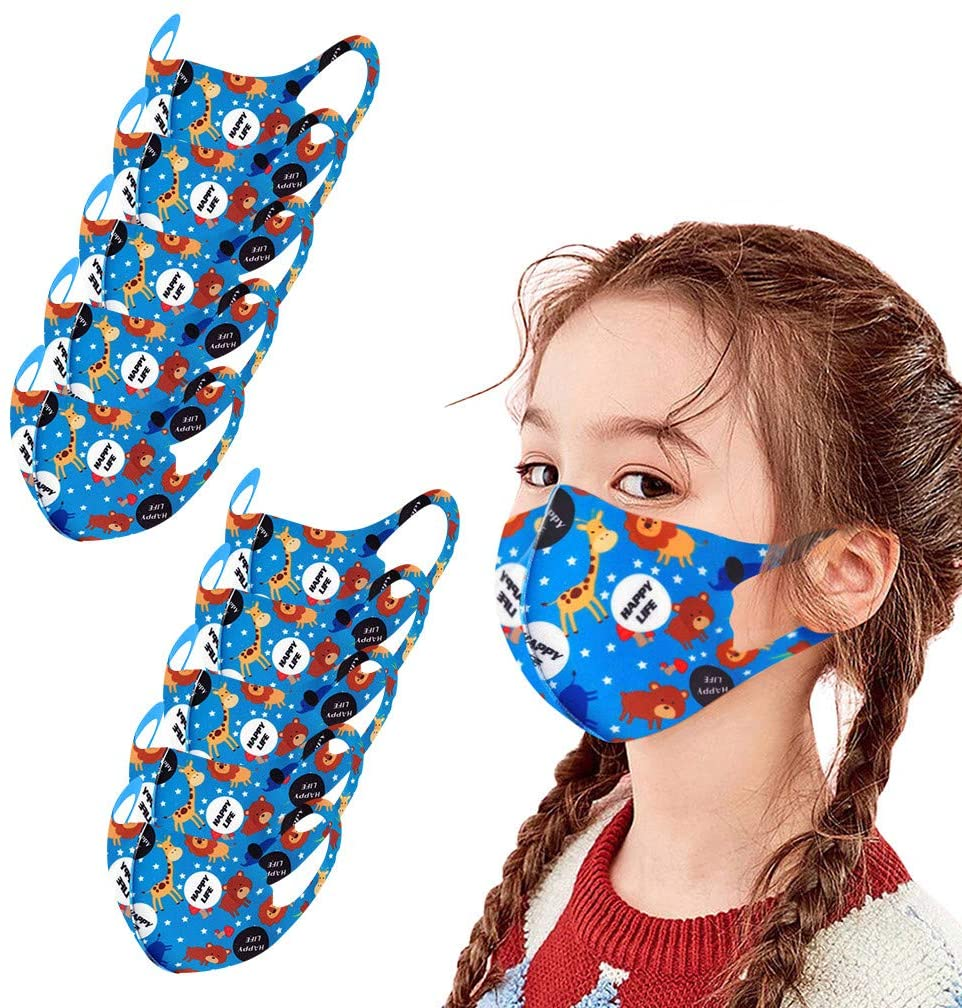 Gerichy 10PC Pack Kid's Mask Washable Reusable Bandanas Face Covering for Kids, for Sport