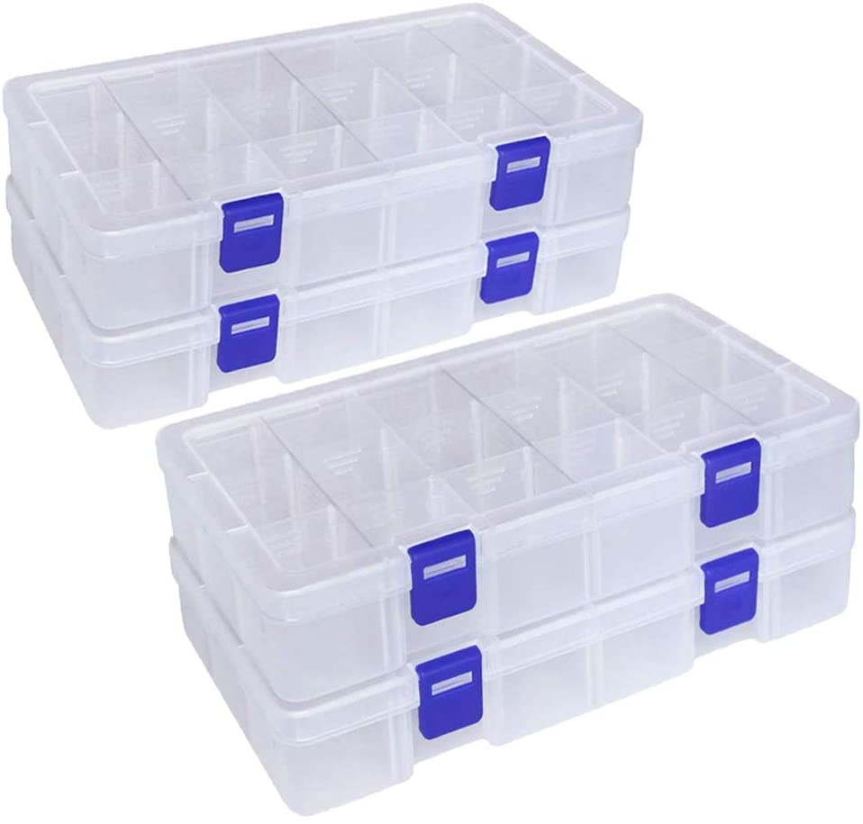 Qualsen Plastic Compartment Box with Adjustable Dividers Craft Tackle Organizer Storage Containers Box (18 grid x 4, Clear)