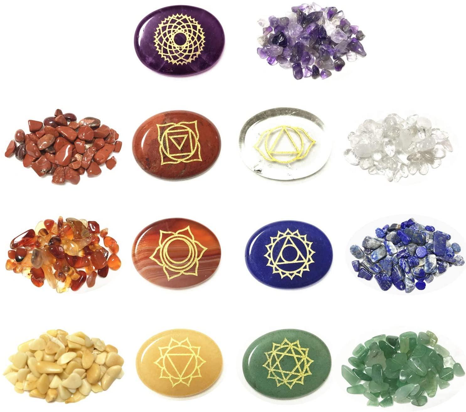 7 Chakra Gemstones Set 7 Chakra Chip Stones Reiki Healing Crystals with Engraved Chakra Symbols for EMF Protection and Spiritual Healing (Oval)